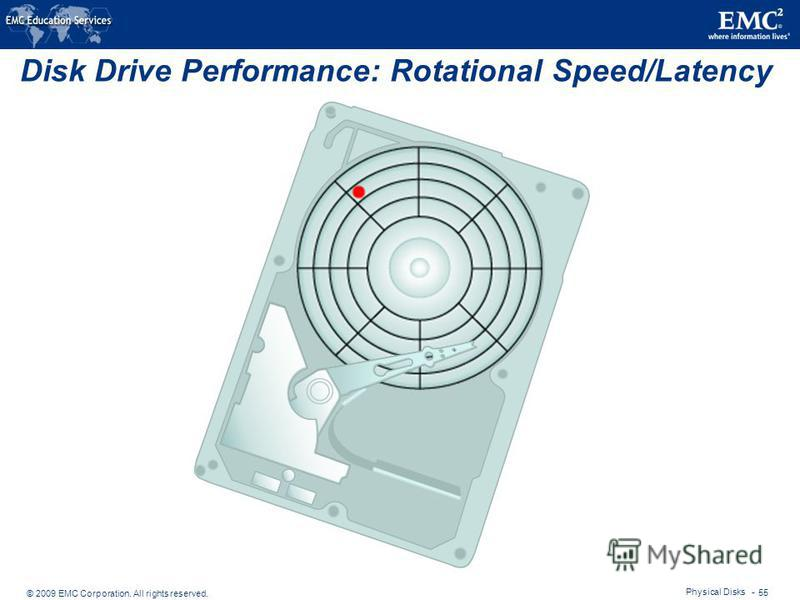 © 2009 EMC Corporation. All rights reserved. Physical Disks - 55 Disk Drive Performance: Rotational Speed/Latency