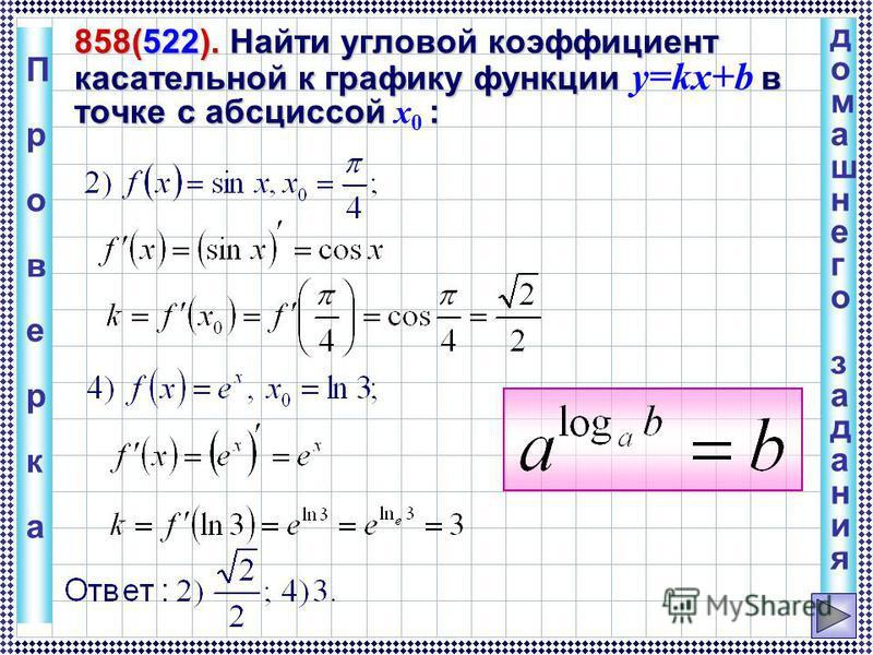 домашнего задания домашнего задания 858(522). Найти угловой коэффициент касательной к графику функции в точке с абсциссой : 858(522). Найти угловой коэффициент касательной к графику функции y=kx+b в точке с абсциссой x 0 : Проверка Проверка