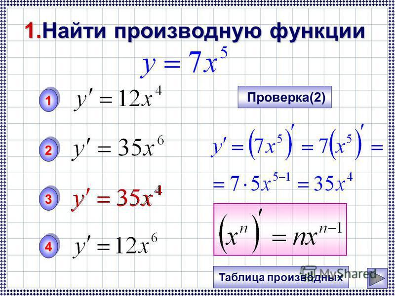 1. Найти производную функции 11 33 22 44 Проверка(2) Таблица производных