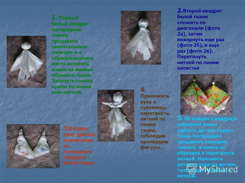 1. Первый белый квадрат посередине слегка продавить указательным пальцем и в образовавшееся место вложить комок из мелких обрезков ткани. Затянуть голову куклы по линии шеи ниткой. 2. Второй квадрат белой ткани сложить по диагонали (фото 2 а), затем