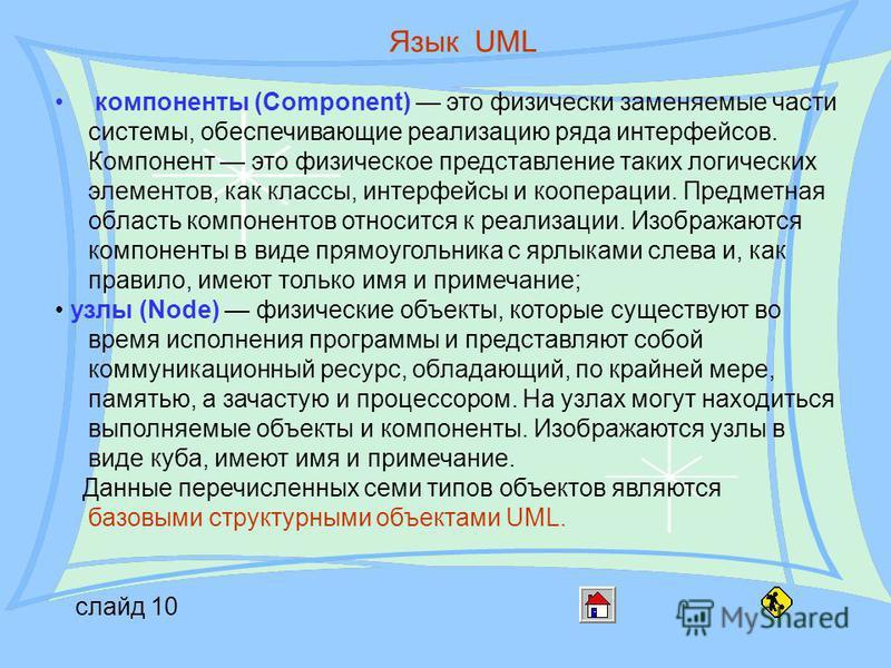 слайд 10 Язык UML компоненты (Component) это физически заменяемые части системы, обеспечивающие реализацию ряда интерфейсов. Компонент это физическое представление таких логических элементов, как классы, интерфейсы и кооперации. Предметная область ко