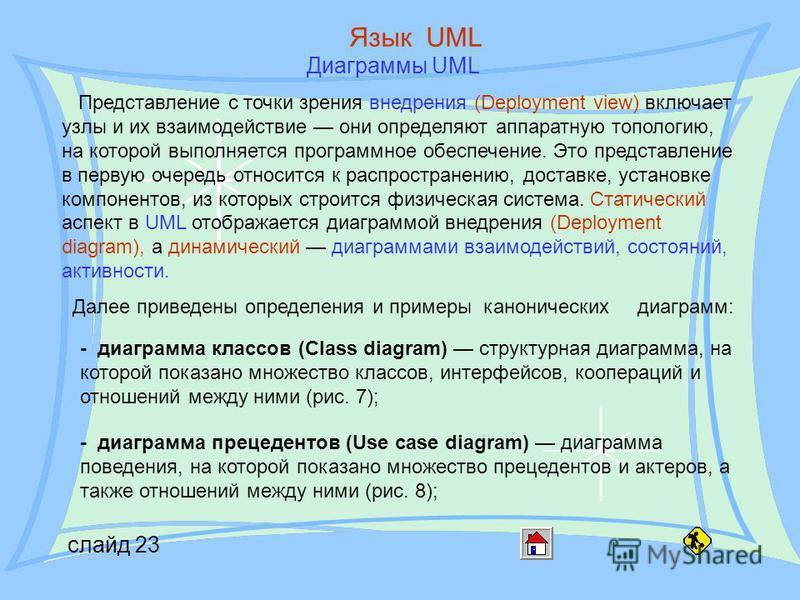 слайд 23 Язык UML Диаграммы UML Представление с точки зрения внедрения (Deployment view) включает узлы и их взаимодействие они определяют аппаратную топологию, на которой выполняется программное обеспечение. Это представление в первую очередь относит