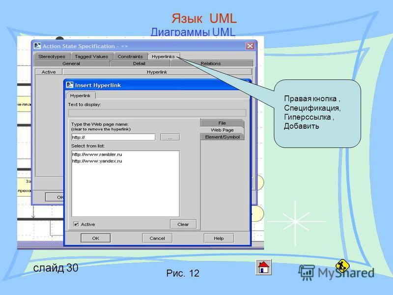 слайд 30 Язык UML Диаграммы UML Правая кнопка, Спецификация, Гиперссылка, Добавить Рис. 12