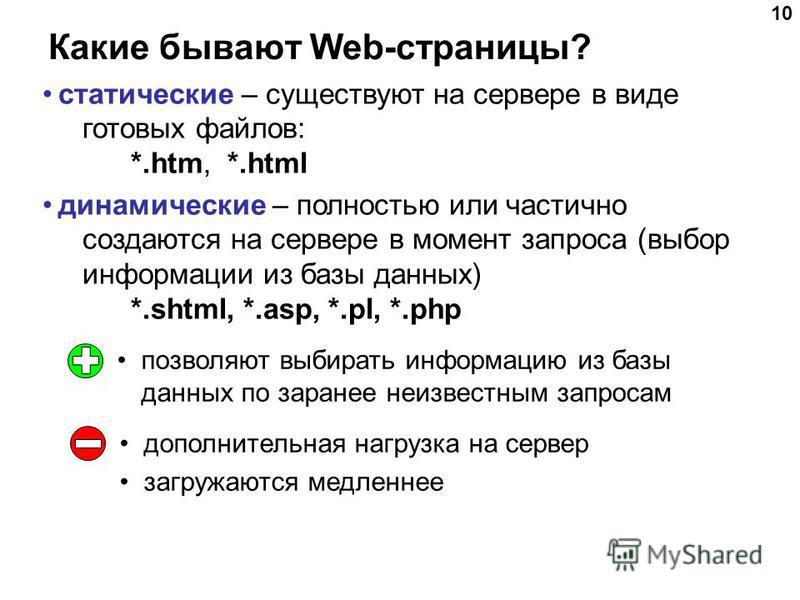 10 Какие бывают Web-страницы? статические – существуют на сервере в виде готовых файлов: *.htm, *.html динамические – полностью или частично создаются на сервере в момент запроса (выбор информации из базы данных) *.shtml, *.asp, *.pl, *.php позволяют
