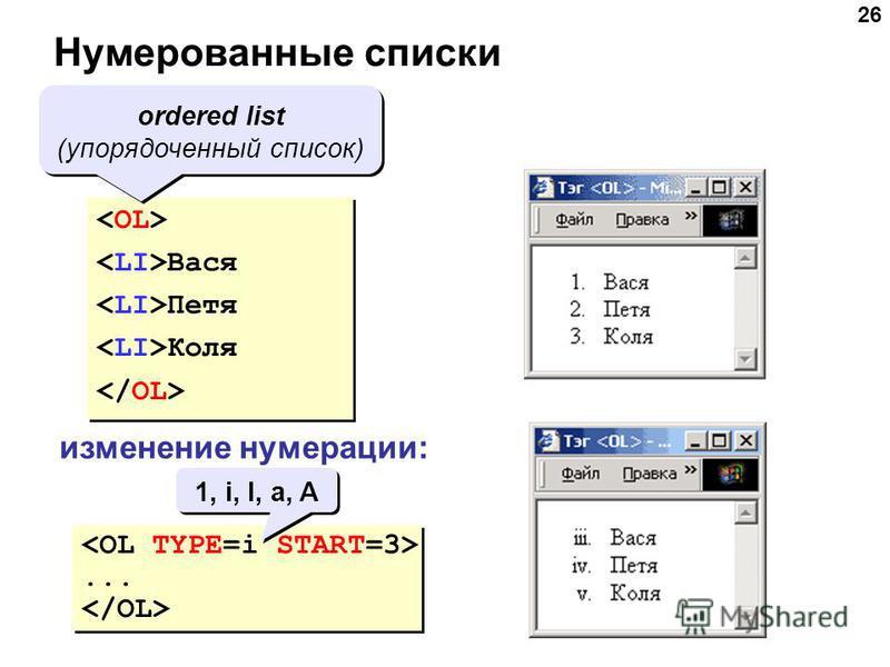 26 Нумерованные списки Вася Петя Коля Вася Петя Коля ordered list (упорядоченный список) изменение нумерации:...... 1, i, I, a, A