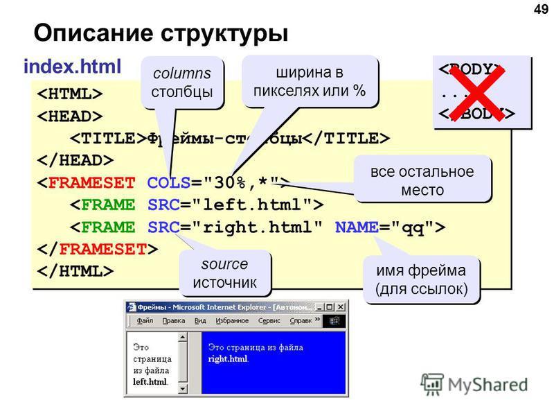 49 Описание структуры index.html Фреймы-столбцы Фреймы-столбцы...... columns столбцы columns столбцы ширина в пикселях или % все остальное место source источник source источник имя фрейма (для ссылок)