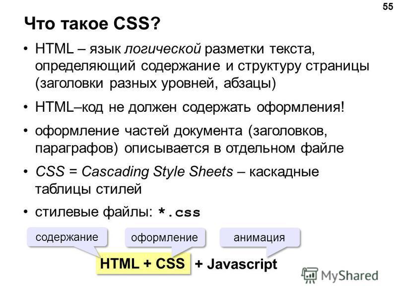 55 Что такое CSS? HTML – язык логической разметки текста, определяющий содержание и структуру страницы (заголовки разных уровней, абзацы) HTML–код не должен содержать оформления! оформление частей документа (заголовков, параграфов) описывается в отде