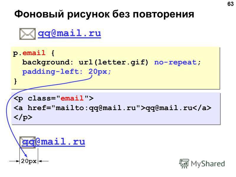 63 Фоновый рисунок без повторения p.email { background: url(letter.gif) no-repeat; padding-left: 20px; } p.email { background: url(letter.gif) no-repeat; padding-left: 20px; } qq@mail.ru qq@mail.ru qq@mail.ru 20px