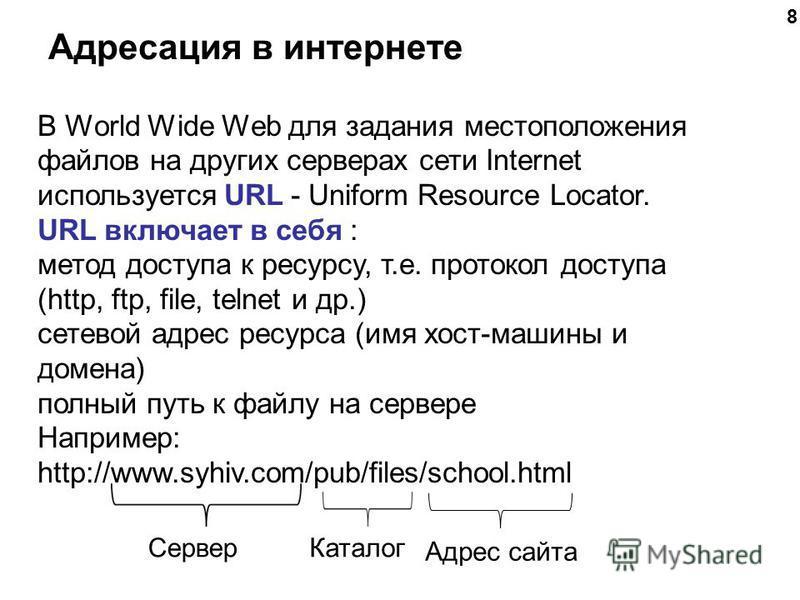 Адресация в интернете 8 В World Wide Web для задания местоположения файлов на других серверах сети Internet используется URL - Uniform Resource Locator. URL включает в себя : метод доступа к ресурсу, т.е. протокол доступа (http, ftp, file, telnet и д