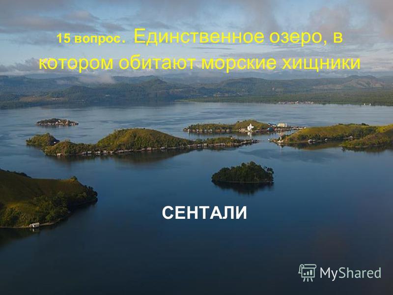 15 вопрос. Единственное озеро, в котором обитают морские хищники СЕНТАЛИ