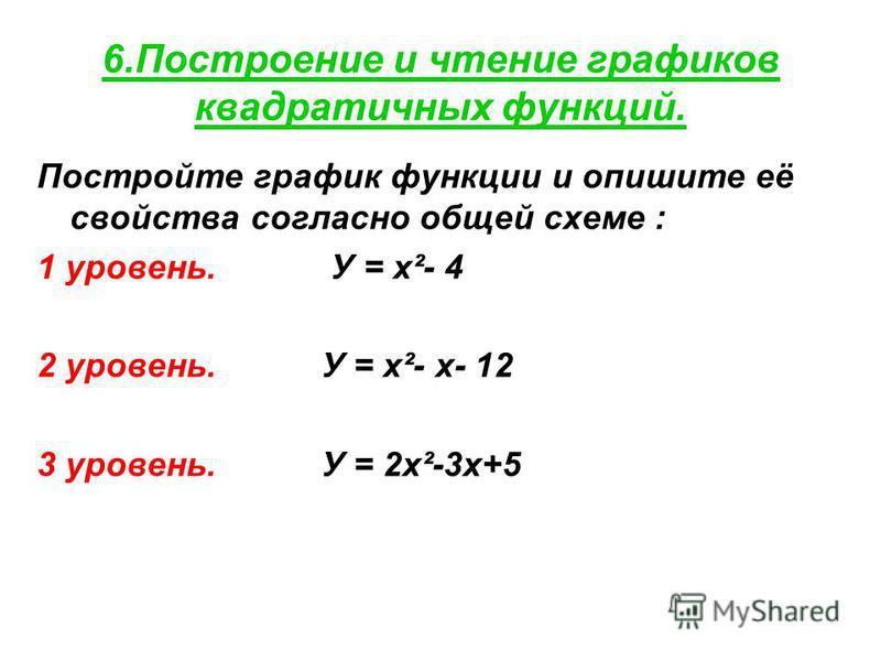 6. Построение и чтение графиков квадратичных функций. Постройте график функции и опишите её свойства согласно общей схеме : 1 уровень. У = х²- 4 2 уровень. У = х²- х- 12 3 уровень. У = 2 х²-3 х+5