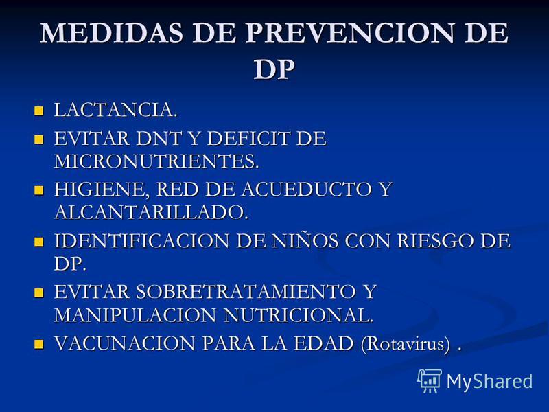 MEDIDAS DE PREVENCION DE DP LACTANCIA. LACTANCIA. EVITAR DNT Y DEFICIT DE MICRONUTRIENTES. EVITAR DNT Y DEFICIT DE MICRONUTRIENTES. HIGIENE, RED DE ACUEDUCTO Y ALCANTARILLADO. HIGIENE, RED DE ACUEDUCTO Y ALCANTARILLADO. IDENTIFICACION DE NIÑOS CON RI