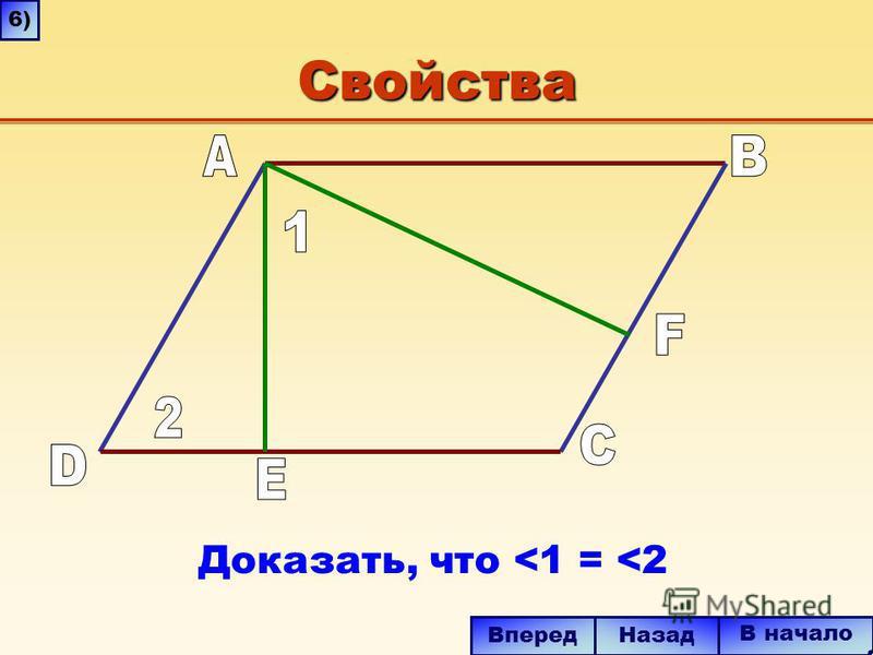 Свойства В начало Вперед Назад Доказать, что <1 = <2 6)