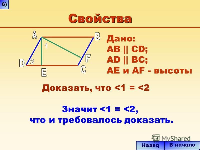 Свойства Значит <1 = <2, что и требовалось доказать. В начало Назад 6) Дано: AB || CD; AD || BC; AE и AF - высоты Доказать, что <1 = <2