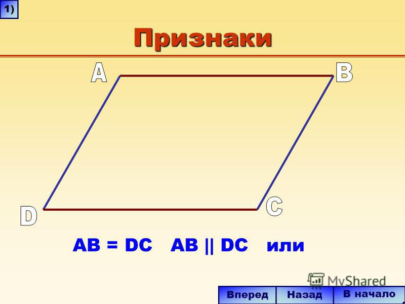Признаки AB = DC AB || DC или В начало Вперед Назад 1)