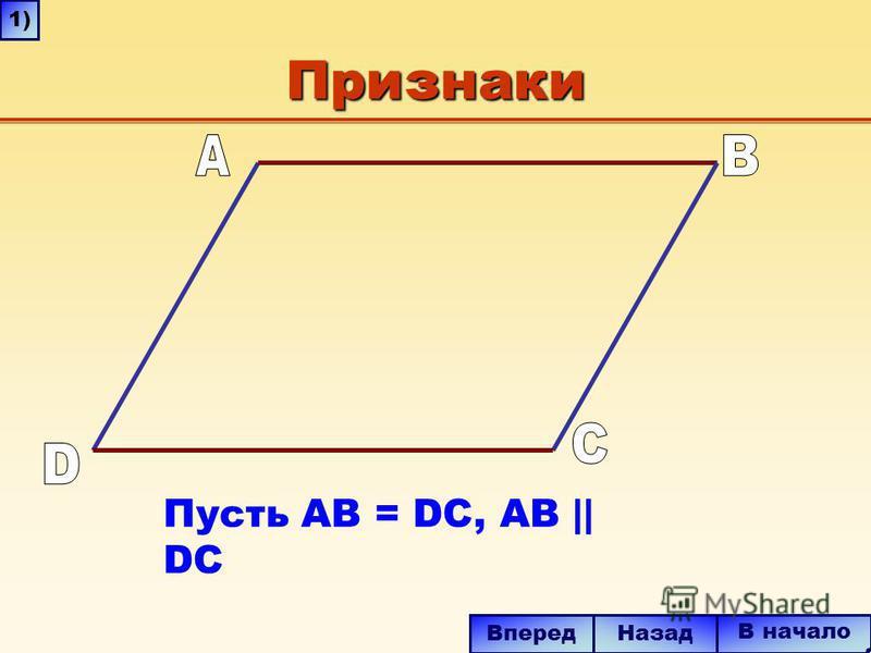 Признаки Пусть AB = DC, AB || DC В начало Назад Вперед 1)