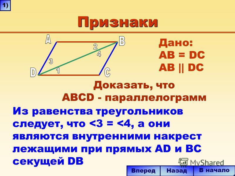 Признаки Из равенства треугольников следует, что <3 = <4, а они являются внутренними накрест лежащими при прямых AD и BC секущей DB В начало Назад Вперед 1) Дано: AB = DC AB || DC Доказать, что ABCD - параллелограмм