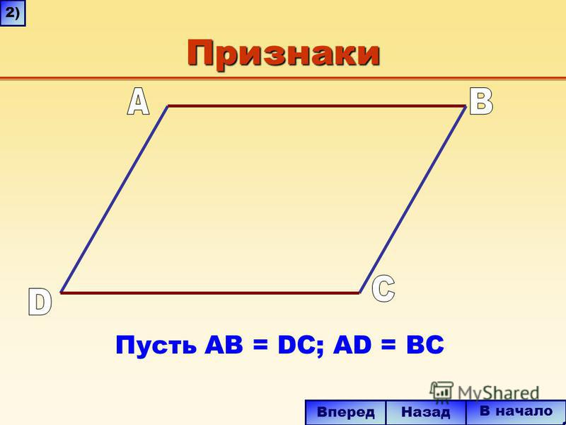 Признаки Пусть AB = DC; AD = BC В начало Вперед Назад 2)