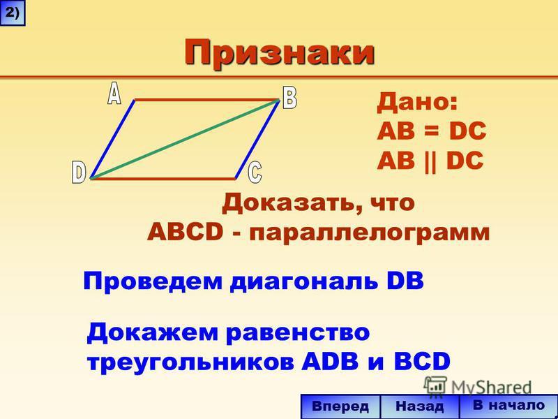 Признаки Проведем диагональ DB Докажем равенство треугольников ADB и BCD В начало Назад Вперед 2) Дано: AB = DC AB || DC Доказать, что ABCD - параллелограмм