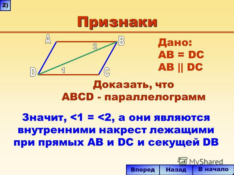 Признаки Значит, <1 = <2, а они являются внутренними накрест лежащими при прямых AB и DC и секущей DB В начало Назад Вперед 2) Дано: AB = DC AB || DC Доказать, что ABCD - параллелограмм