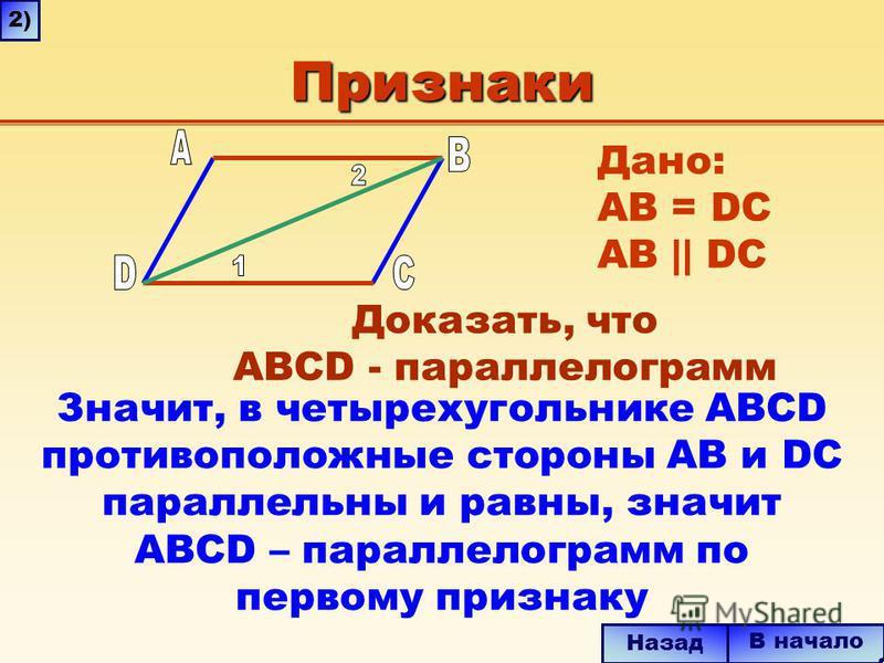 Признаки Значит, в четырехугольнике ABCD противоположные стороны AB и DC параллельны и равны, значит ABCD – параллелограмм по первому признаку В начало Назад 2) Дано: AB = DC AB || DC Доказать, что ABCD - параллелограмм