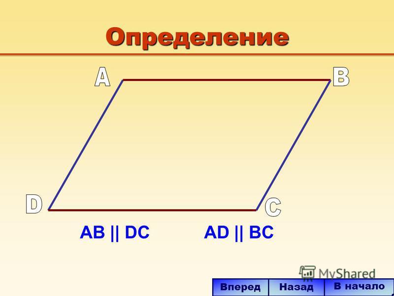 Определение AB || DCAD || BC В начало Вперед Назад