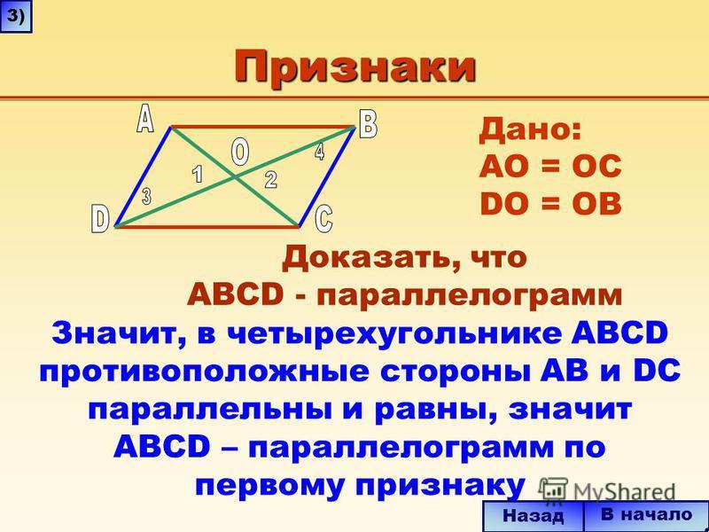 Признаки Значит, в четырехугольнике ABCD противоположные стороны AB и DC параллельны и равны, значит ABCD – параллелограмм по первому признаку В начало Назад 3) Дано: AО = ОC DO = OB Доказать, что ABCD - параллелограмм