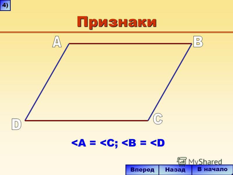 Признаки <A = <C; <B = <D В начало Вперед Назад 4)4)