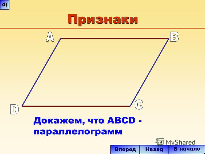 Признаки Докажем, что ABCD - параллелограмм В начало Вперед Назад 4)4)
