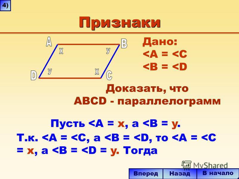 Признаки Дано: <A = <C <B = <D Доказать, что ABCD - параллелограмм В начало Назад Вперед 4)4) Т.к. <A = <C, a <B = <D, то <A = <C = x, a <B = <D = y. Тогда Пусть <A = x, а <B = y.