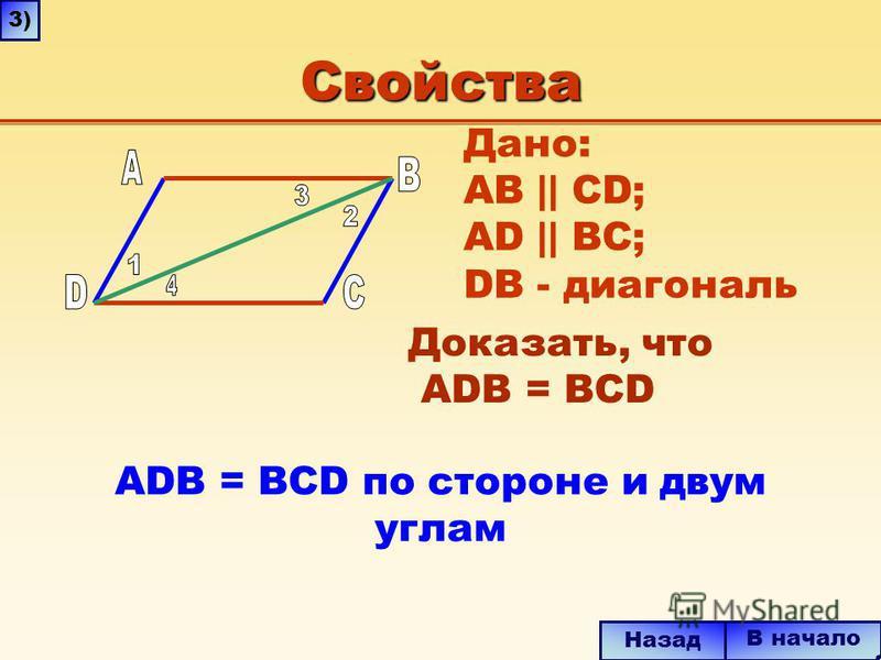 Свойства ADB = BCD по стороне и двум углам В начало Назад 3) Дано: AB || CD; AD || BC; DВ - диагональ Доказать, что ADB = BCD