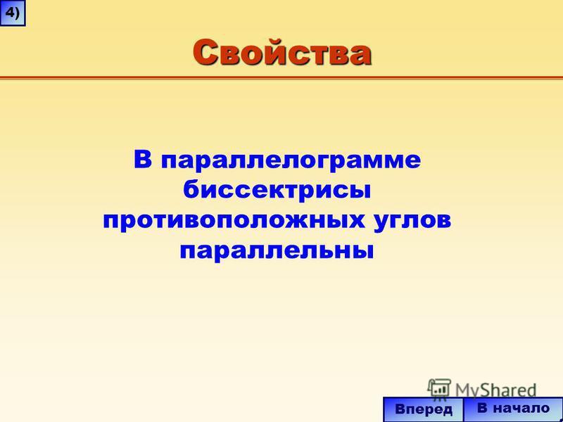 Свойства В начало Вперед В параллелограмме биссектрисы противоположных углов параллельны 4)4)