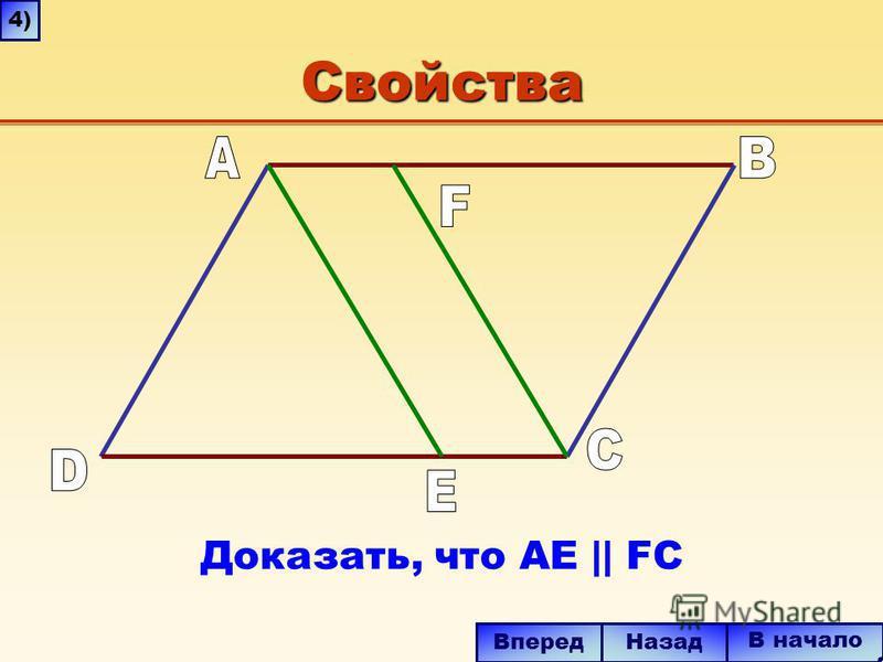 Свойства В начало Вперед Назад Доказать, что AE || FC 4)4)