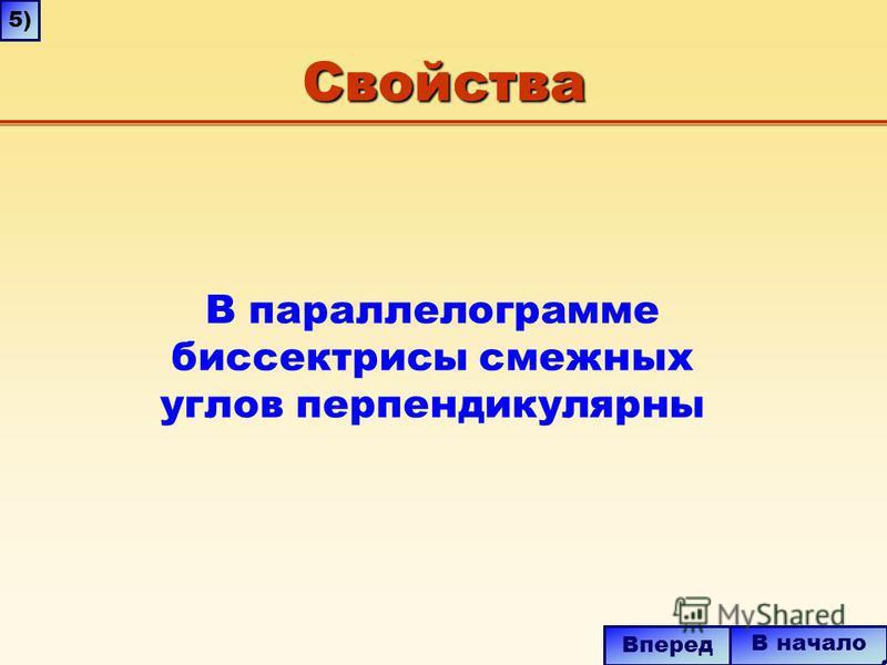 Свойства В начало Вперед В параллелограмме биссектрисы смежных углов перпендикулярны 5)5)