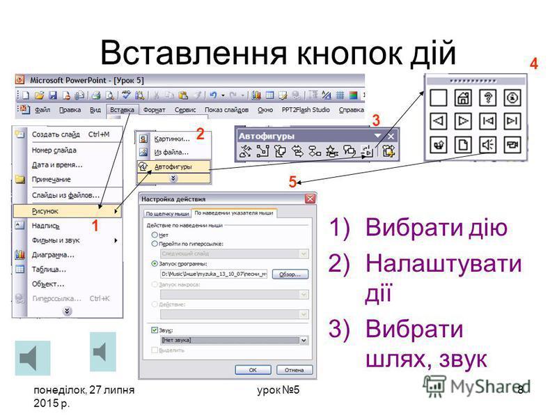 понеділок, 27 липня 2015 р. урок 57 Вставка гіперпосилань та кнопок дій Виділити обєкт 2 3 1 гіперпосилання natali__s@bk.ru
