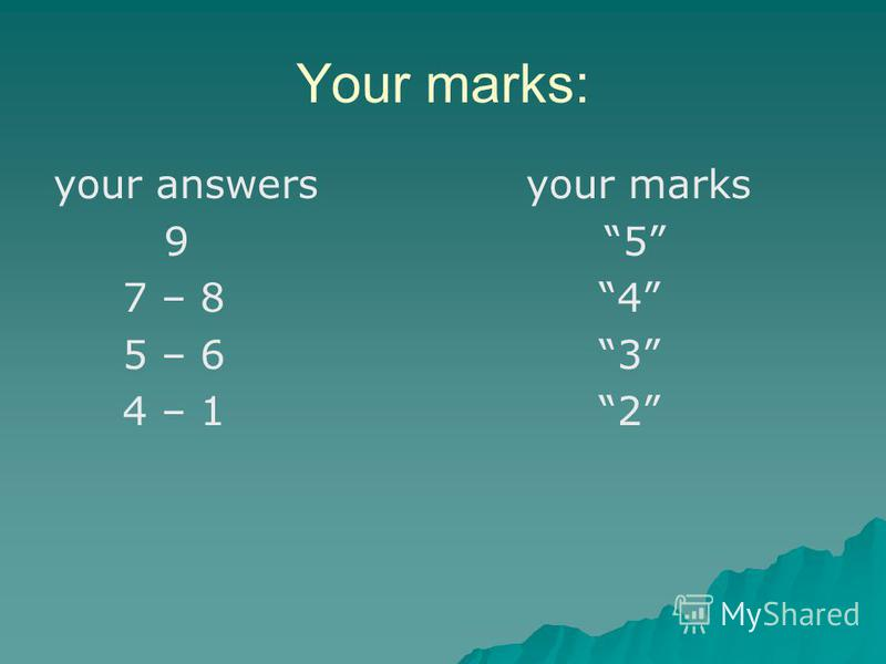 Your marks: your answers your marks 9 5 7 – 8 4 5 – 6 3 4 – 1 2