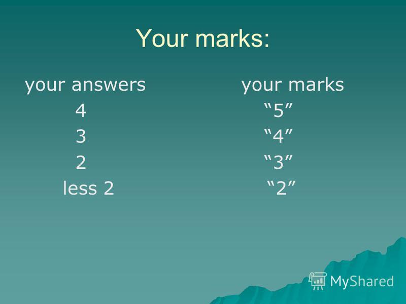 Your marks: your answers your marks 4 5 3 4 2 3 less 2 2