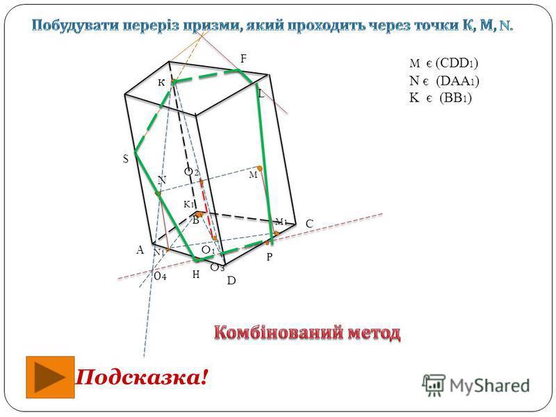 к M N K1K1 N1N1 M1M1 Р Н M є (CDD 1 ) N є (DAA 1 ) K є (BB 1 ) A B C D O1O1 O2O2 Подсказка! O3O3 S F L О4О4