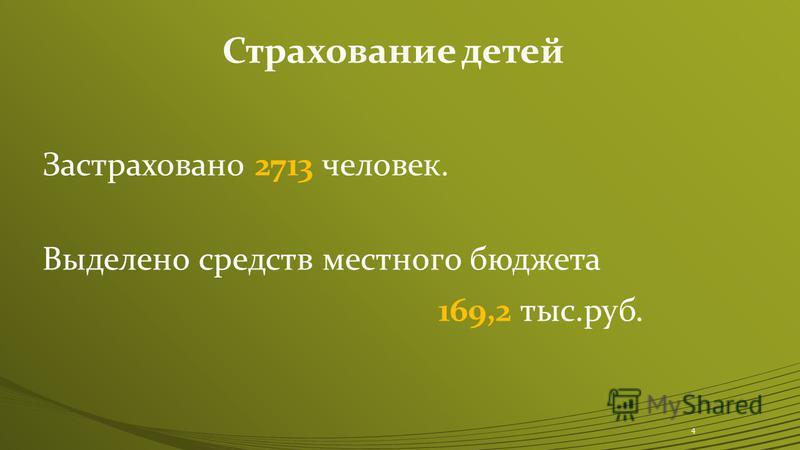 Застраховано 2713 человек. Выделено средств местного бюджета 169,2 тыс.руб. 4 Страхование детей