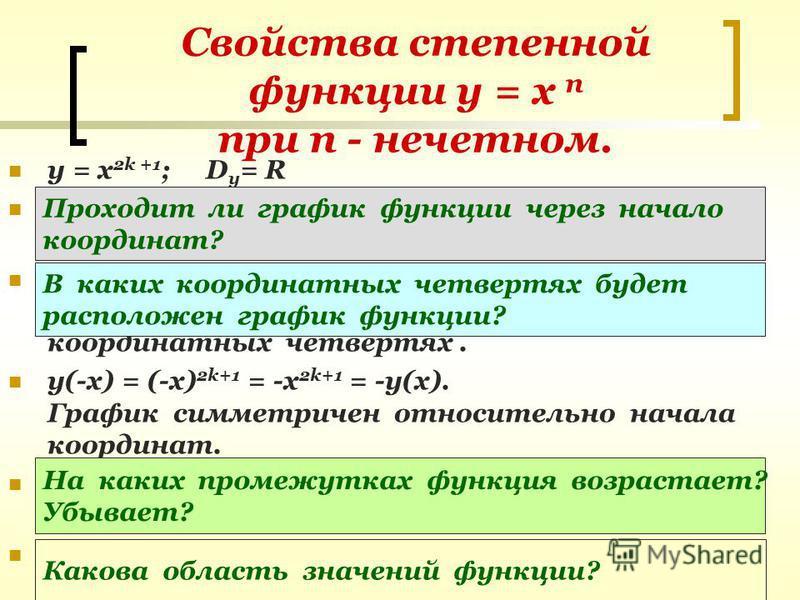 Свойства степенной функции у = х п при п - нечетном. y = х 2k +1 ; D y = R При х = 0 у = 0. График функции проходит через начало координат. Если х > 0, то у > 0; если х < 0, то у < 0. График функции расположен в I u III координатных четвертях. у(-х)