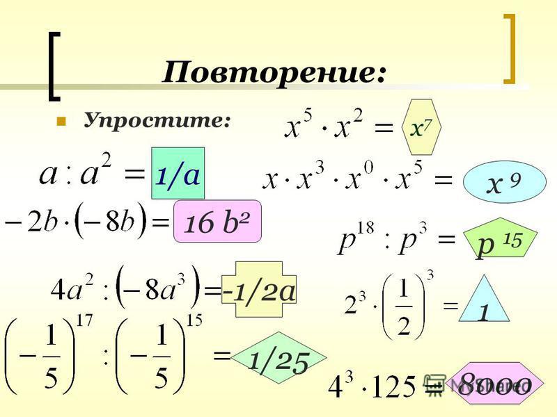 Повторение: Упростите: х 7 х 7 1/а х 9 16 b 2 р 15 -1/2 а 1 1/25 8000