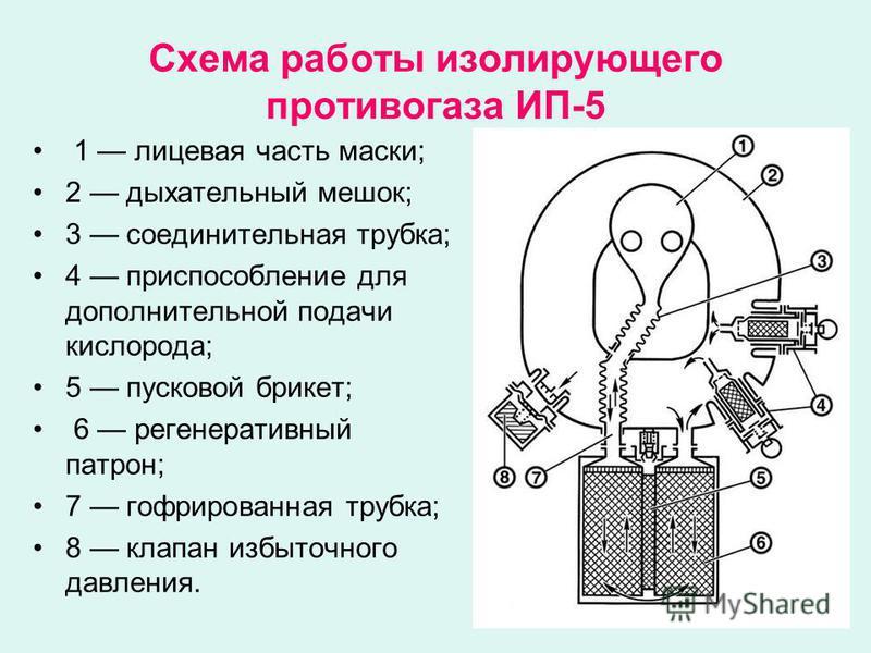 Схема работы изолирующего противогаза ИП-5 1 лицевая часть маски; 2 дыхательный мешок; 3 соединительная трубка; 4 приспособление для дополнительной подачи кислорода; 5 пусковой брикет; 6 регенеративный патрон; 7 гофрированная трубка; 8 клапан избыточ