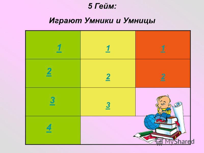 11 22 3 5 Гейм: Играют Умники и Умницы 2 3 4 1