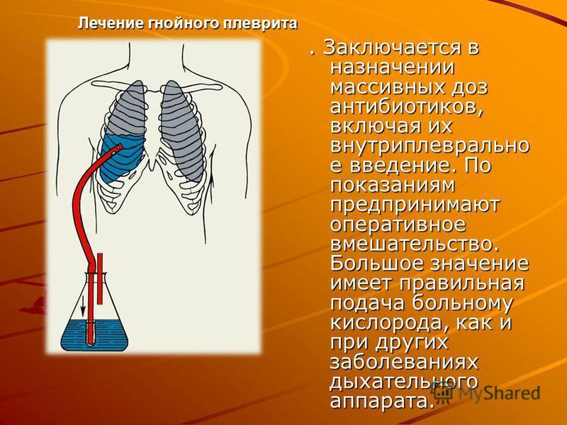 . Заключается в назначении массивных доз антибиотиков, включая их внутриплеврально е введение. По показаниям предпринимают оперативное вмешательство. Большое значение имеет правильная подача больному кислорода, как и при других заболеваниях дыхательн