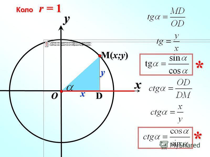 x Коло r = 1 y O x y D ** M(x;y)