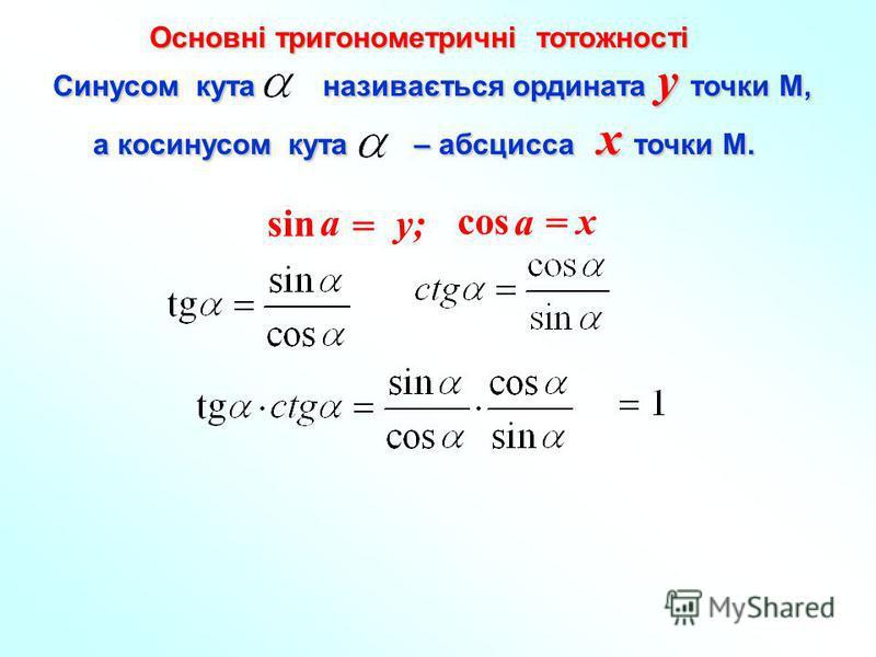 Cинусом кута називається ордината y точки М, а косинусом кута – абсцисса x точки М. а косинусом кута – абсцисса x точки М. x = a cos y; y; = a sin Основні тригонометричні тотожності