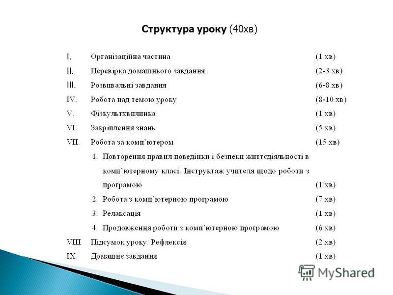 Структура уроку (40хв)