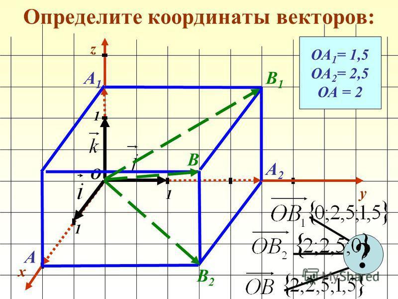 Определите координаты векторов: x y 1 1 1 О z ОА 1 = 1,5 ОА 2 = 2,5 ОА = 2 А1А1 А2А2 А ? В1В1 В2В2 В
