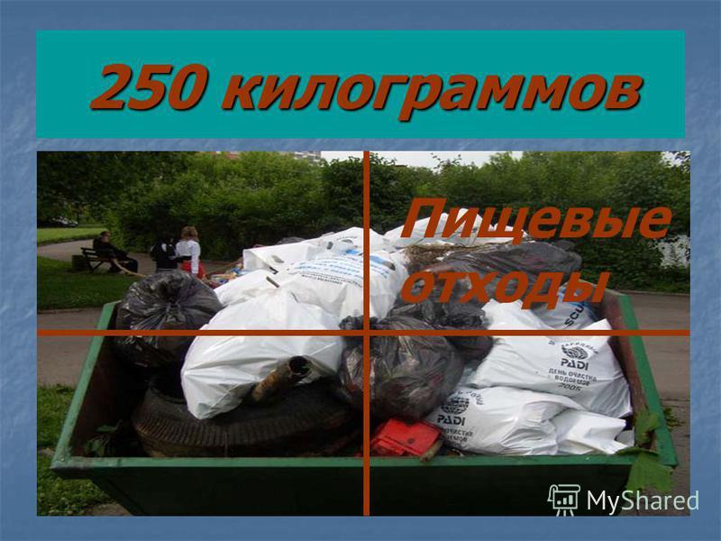 250 килограммов Пищевые отходы