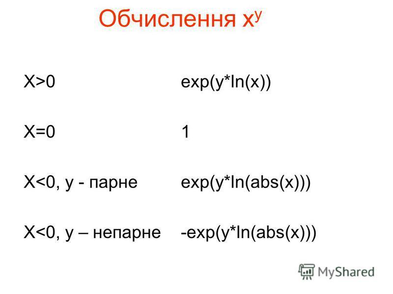 Обчислення х у X>0exp(y*ln(x)) X=01 X<0, y - парнеexp(y*ln(abs(x))) X<0, y – непарне-exp(y*ln(abs(x)))